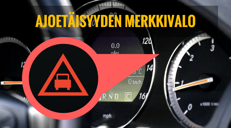 ajoetäisyyden merkkivalo palaa auton mittaristossa