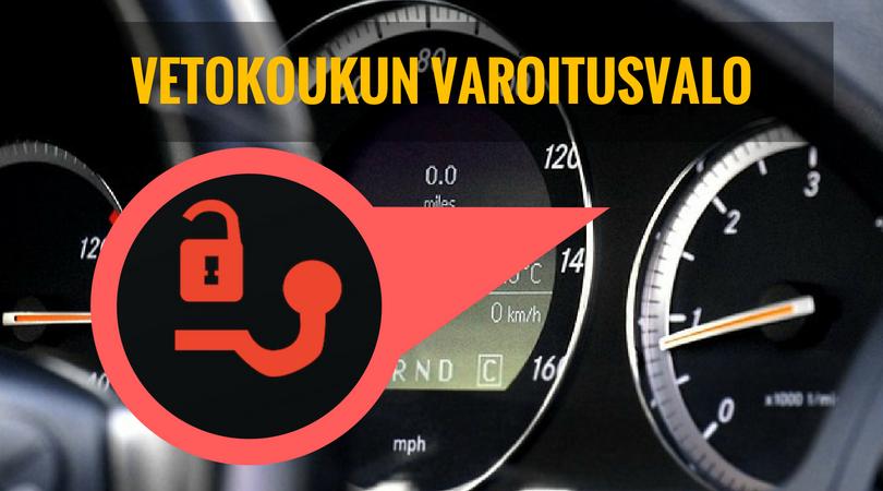 vetokoukun varoitusvalo palaa auton mittaristossa